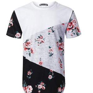 Mens Hipster Hip Hop Floral Graphic T-Shirt